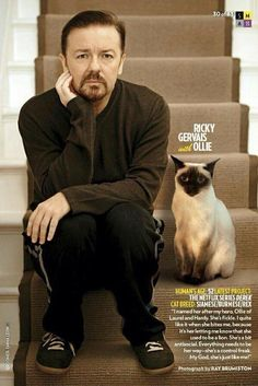 """Ricky Gervais with Ollie (named for Oliver Hardy). """"I quite like it when she bites me, because it's her letting me know that the used to be a lion. Everything needs to be her way - she's a control freak. My God, she's just like me!"""" Photo by Ray Burmiston"""
