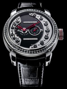 Pierre DeRoche Double Retrograde Skycrapers Set $26,312 #PierreDeRoche #watch #chronograph 16L stainless steel set with 64 black diamonds (1.28 cts), screw-locked crown, glareproofed glass and engraved case-back.