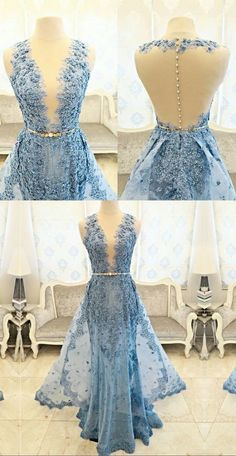 Blue Sheath Illusion Prom Dress with Belt Lace Detachable Train