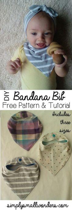 http://www.simplysmallwonders.com/baby-bandana-bib-free-pattern-and-tutorial/