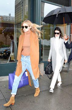 runwayandbeauty:  Gigi Hadid & Kendall Jenner leaving Kanye's apartment in New York City, November 10, 2015.