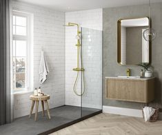 Danish tap and shower system design. The faucets come in the surface colours: Steel, PVD, brushed brass and copper, matt black e. Home Interior Design, Interior Decorating, Modern Shower, Shower Systems, Staircase Design, White Bathroom, Ceiling Design, Bathroom Inspiration, Bathroom Ideas