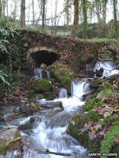 The 6th century St Dyfnog's well, half hidden in woodland -  is on the north Wales Pilgrim's Way in Llanrhaeadr, near Denbigh, Wales