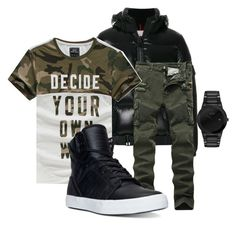 """he look good in olive."" by cuntore on Polyvore featuring Moncler, Supra, Citizen, men's fashion and menswear"