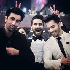 Shahid Kapoor with Ranbir Kapoor and Varun Dhawan at the 60th Filmfare Awards…