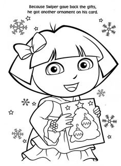 Free Printable Dora Christmas Coloring Pages Picture 24 550x756
