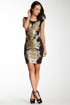 gold and black printed dress