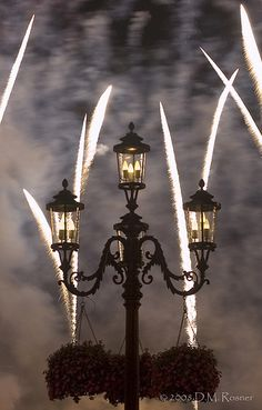 Disney lamp posts and fireworks