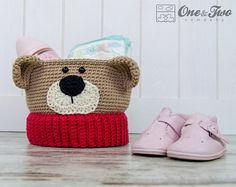 Teddy Bear Crochet Basket PDF Crochet Pattern by oneandtwocompany Crochet Bear, Love Crochet, Beautiful Crochet, Crochet Dolls, Crochet Teddy, Easy Crochet Patterns, Knitting Patterns, Vestidos Bebe Crochet, Crochet Phone Cases