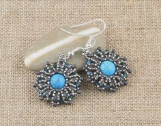 Turquenite Stone Earrings by CatchTheBeads on Etsy