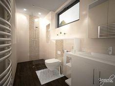 3D vizualizácia kúpeľne v obdĺžnikovom pôdoryse prakticky navrhnutá na tri funkčné zóny. Usporiadanie zriaďovacích predmetov a sanity je volené podľa...