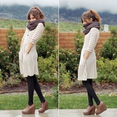 Outfit #3 - Teal Striped Skater Dress - White Infinity Scarf or White Scarf - Black Stockings - Black Boots