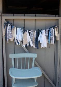 Shabby Baby Boy Shower Fabric Bunting, Baby Shower Decoration, Photo Prop, Photo Backdrop, Cream Gray and Navy Theme on Etsy, $30.00