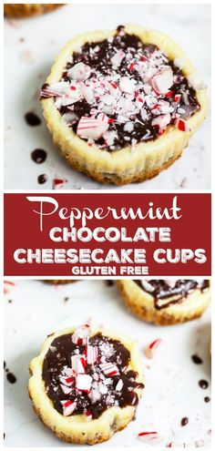 These Peppermint Chocolate Cheesecake Cups are the perfect fun and festive dessert recipe! They're easy to make and great for the holiday party season. Hot Fudge Cake, Hot Chocolate Fudge, Peppermint Chocolate, Peppermint Candy, Chocolate Cheesecake, Chocolate Ganache, Peppermint Cheesecake, Christmas Cheesecake, Chocolate Cups