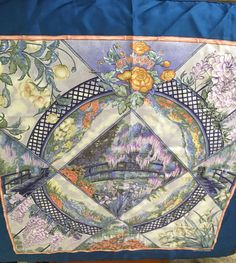 Vintage Hermes Silk Scarf Giverny by Laurence by HRHTreasures