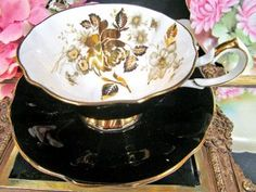 Queen Anne Tea Cup And Saucer Wide Mouth Black & Gold Floral Pattern Teacup photo