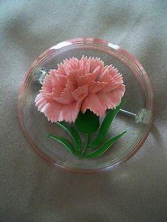 Vintage Reverse Carved Lucite Brooch - Pink Carnations