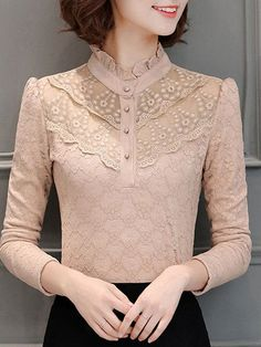 Buttoned Ruffled Long Sleeve Elegant Lace Blouse – Plus Size Fashion Hijab Fashion, Fashion Dresses, Kurta Neck Design, Vetement Fashion, Mode Hijab, Beautiful Blouses, Elegant Outfit, Plus Size Blouses, Sweater Outfits
