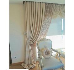 Image result for double layer sheer muslin curtains tied back