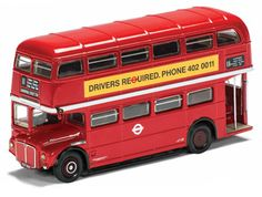 Corgi 1:50 AEC Routemaster Diecast Model Bus CC25910 This AEC Routemaster RM1737 Diecast Model Bus is Red and features working wheels. It is made by Corgi and is 1:50 scale (approx. 17cm / 6.7in long). The AEC Routemaster was designed and built in London by AEC and Park Royal Vehicles specifically for London Transport use. Although conventional in appearance, the design was technically sophisticated, featuring innovative construction techniques, braking systems and semi-automatic…