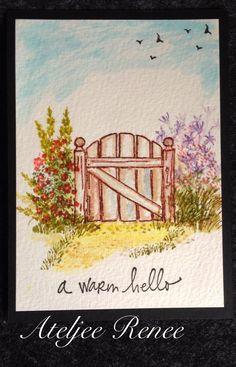 Art Impressions Wonderful Watercolor handmade card with wood gate, flowers, foliage, grass, birds