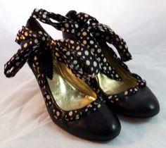 HEGO'S Women's Shoes ~ Black Leather Pumps w/ B&W Polka Dot Ankle Ribbon ~ Sz 7M #Hegos #PumpsClassics