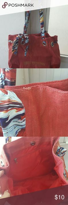 True religion tote Red with metallic gold fleck true religion tote. Magnetic closure with one zipper inside. Flaws shown in pictures. ??no trades?? True Religion Bags Totes