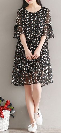 Women loose fit plus over size flower floral chiffon dress summer fashion chic #unbranded