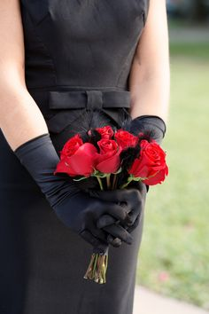 Red Rose Wedding Bouquet with Black Feathers and Bridesmaid Wearing Black Gloves - St. Pete Museum of Fine Arts Black & Red Halloween Themed Wedding - St. Petersburg, FL Wedding Photographer Carrie Wildes Photography