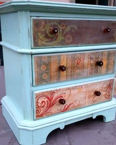 Love the accents!  Spruced up Vintage Dressers by HappyHomeAustin on Etsy