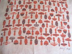 This is a really a fun little hankie that was designed by Tammis Keefe. Even though it is in browns and rusts it is an amazing hankie with with an unusual topics of mushrooms, acorns and prickly pears. | eBay!