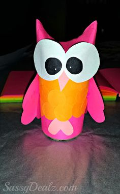 DIY Valentines Day Owl Toilet Paper Roll Craft For Kids #Heart owl #Vday art project | CraftyMorning.com