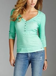 Have this one Guess Sophia Three-Quarter Sleeve Henley light green