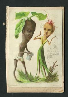 A Merry Christmas... Veggie People , Antique Christmas Postcard
