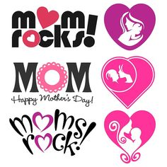 Mother's Day Logo My Mom Rock Cuttlabe Designs SVG, DXF, EPS use with Silhouette Studio & Cricut, Vector Art Vinyl Digital Cutting Cut Files