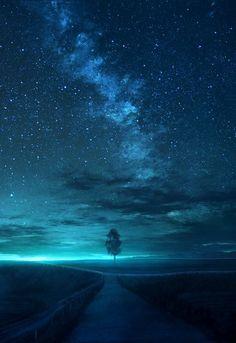 Illustration by Sky Scenery Star Landscape Wallpaper, Scenery Wallpaper, Nature Wallpaper, Wallpaper Backgrounds, Night Sky Wallpaper, Galaxy Wallpaper, Starry Night Sky, Night Skies, Galaxy Art