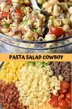 Pasta salad cowboy - food lovers recipes to cook in 2019 рец Best Pasta Salad, Easy Pasta Salad Recipe, Pasta Recipes, Cooking Recipes, Cowboy Salad, Cowboy Food, Summer Salad Recipes, Summer Salads, Summer Food