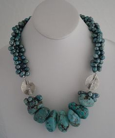 jewelry image of Fresh Water Pearls, Hill Tribe Silver beads, Turquoise, Hill Tribe Silver hook clasp.