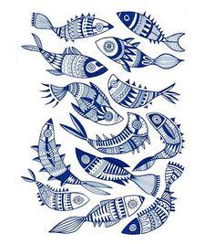 Fish Illustration, Illustrations, Autumn Tattoo, Scandinavian Folk Art, Japanese Quilts, Zentangle Drawings, Fish Design, Fish Art, Linocut Prints