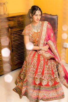 #IndianBridalDiaries The Indian weddings are all about beautiful clothes, loads of jewelry and celebration. The traditional rasams are simply never ending. Indian Bridal wears are oozing with grandeur and elegance. Be one of the most gorgeous royal bride of this season wearing this Couture Bridal Lehenga.  #RentAnAttire #BigFatIndianWedding #LookStunningAndGorgeous #puneweddings #weddings #wedmegood #bridetobe #rentanattire #mutlicoloredlehenga #handwork #weddingsutra #shaadimagic…