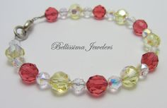 Bellissima Jewelers Pink and Yellow Authentic Swarovski Crystal Bracelet - Vibrant and Sparkling adding glam to any outfit!
