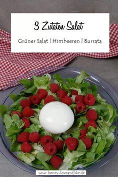 Himbeeren & Burrata auf grünem Salat