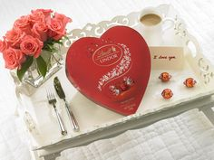 Our perfect Valentine's day morning - roses, coffee and LINDOR.