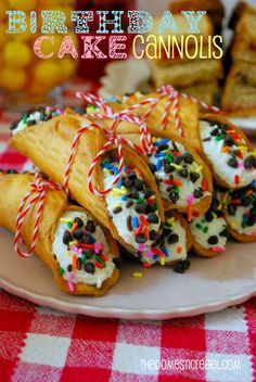 Birthday Cake Cannolis!  Celebrate every special day with these deliciously easy cannolis stuffed with a cake batter flavored filling.  #cakebatter #funfetti #birthday #nobake #summer #cannolis #sprinkles