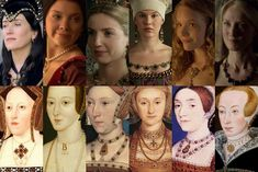 "Henry the VIII's six wives & their 6 modern counterparts from the ""The Tudor"" series from Showtime. Love ""The Tudor"". Wives Of Henry Viii, King Henry Viii, Anne Of Cleves, Anne Boleyn, Tudor History, British History, History Medieval, Elizabeth I, Dinastia Tudor"
