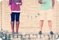 Cute idea for 1-year wedding anniversary photo shoot with banner...change for every year...or do every 5 years. :)