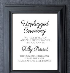 UNFRAMED Unplugged Wedding Sign, Unplugged Ceremony Sign, Wedding Signage, Turn Off Cellphones, No Photos Please, Etsy Weddings