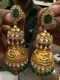 Emerald Pendant with Bangles and Jhumkas Emerald Pendant, Emerald Jewelry, Gold Jewelry, Jewlery, Gold Earrings Designs, Gold Jewellery Design, Bridal Earrings, Bridal Jewelry, Jhumki Earrings