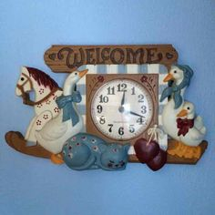 x 9 WELCOME wall clock dated 1986 by Burwood. Few nicks,Pic 4 shows scratches on face cover from age/use. Home Interior Catalog, Ducks, Clock, Wall Decor, Horses, Usa, Cats, Vintage, Home Decor