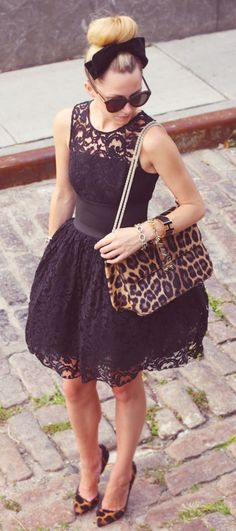Retro look. Stunning <3 Silhouette. Sunies. Bow. Bun. Black lace. Heels.